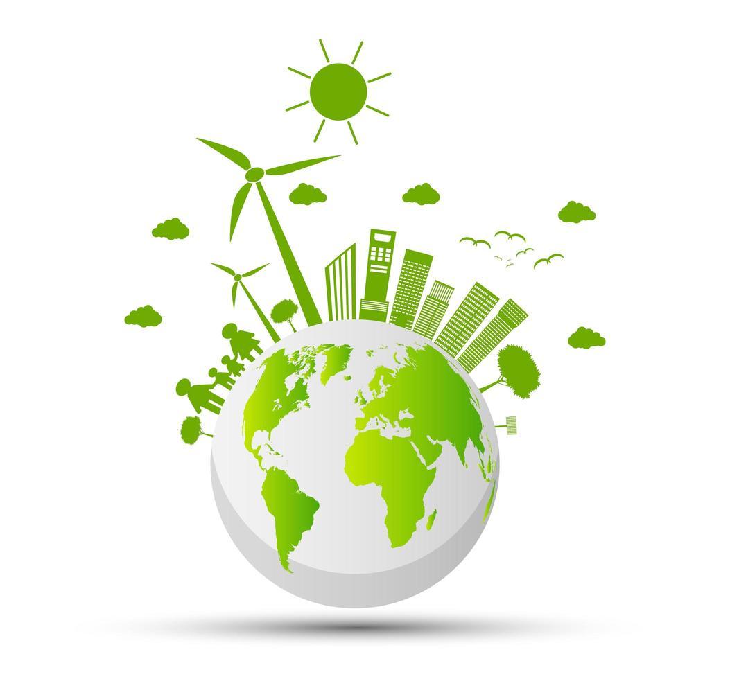 globaal ecologie en milieuconcept vector