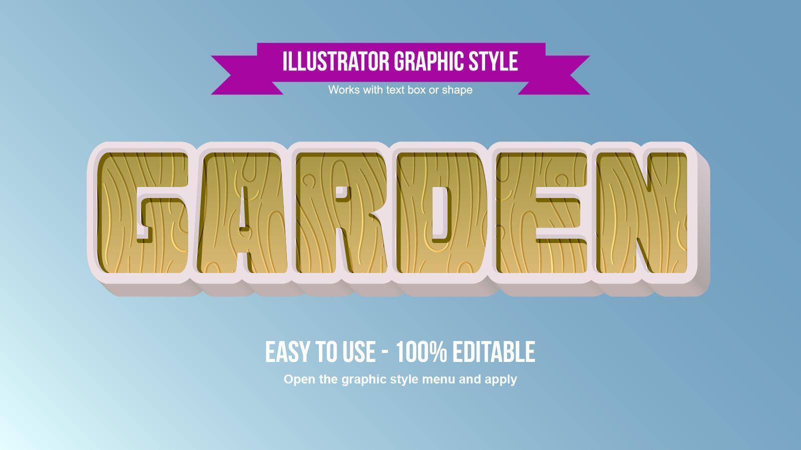 houten patroon vet 3d bewerkbaar teksteffect vector