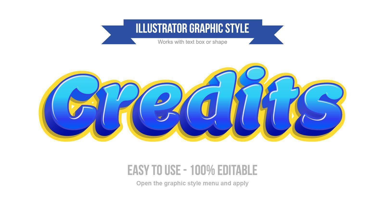 blauw en geel 3d afgerond cartoonesk teksteffect vector