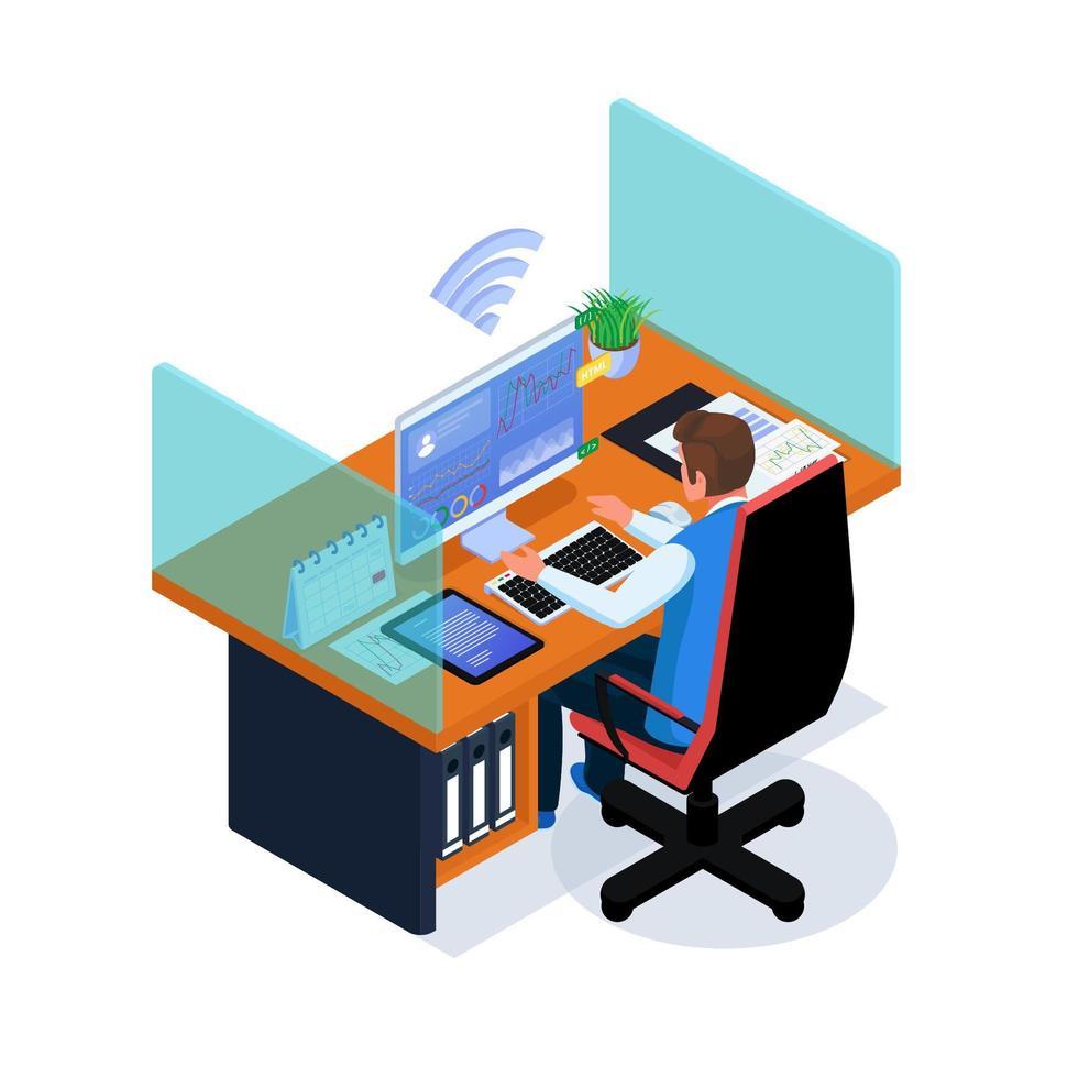 zaken man aan het werk in de werkruimte op internet vector