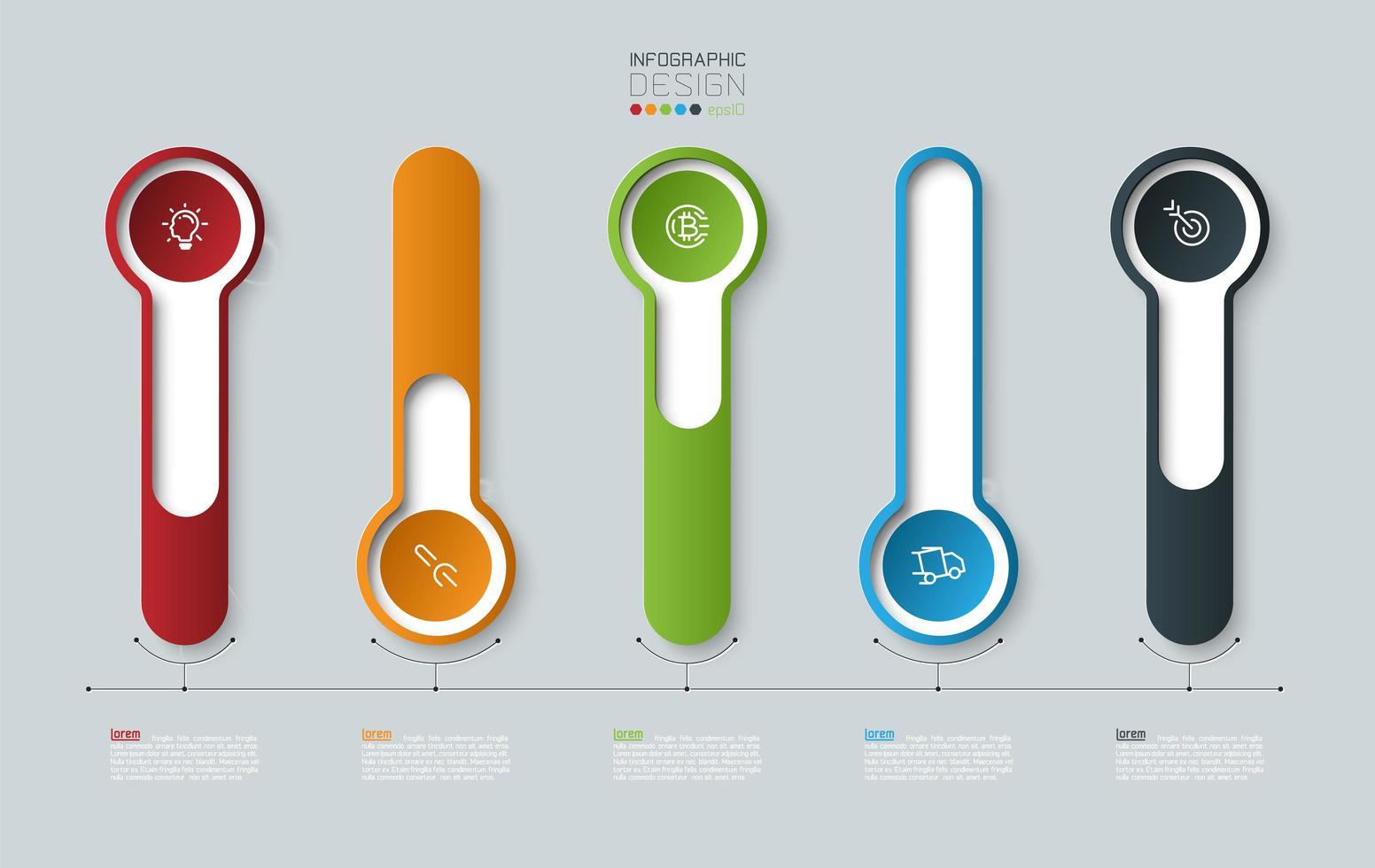 kleurrijke overzicht 3d lange cirkel label infographic vector