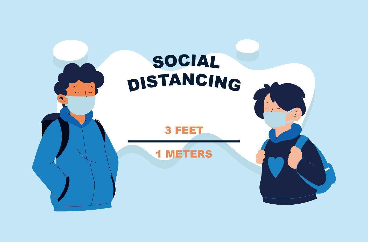 sociaal afstandsconcept met gemaskerde jongeren vector