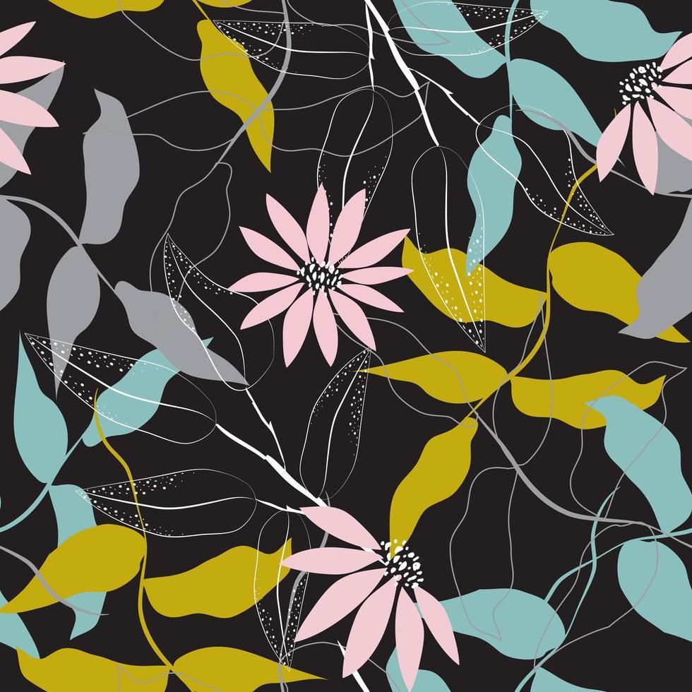 chique bloemmotief op zwarte achtergrond vector
