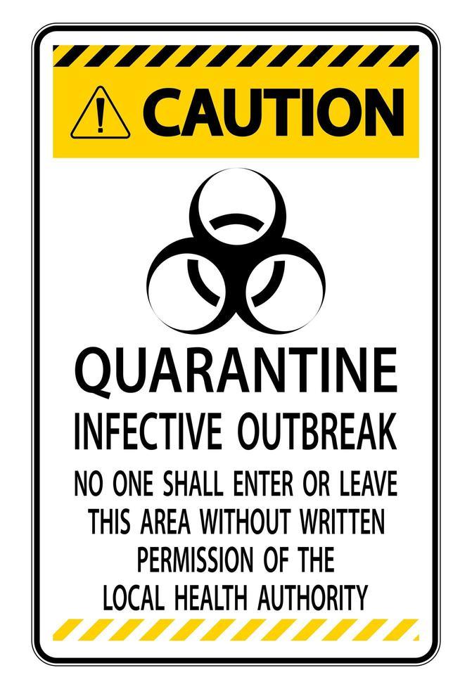 teken in quarantaine plaatsen vector