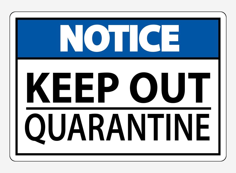 houd quarantaine op een witte achtergrond vector