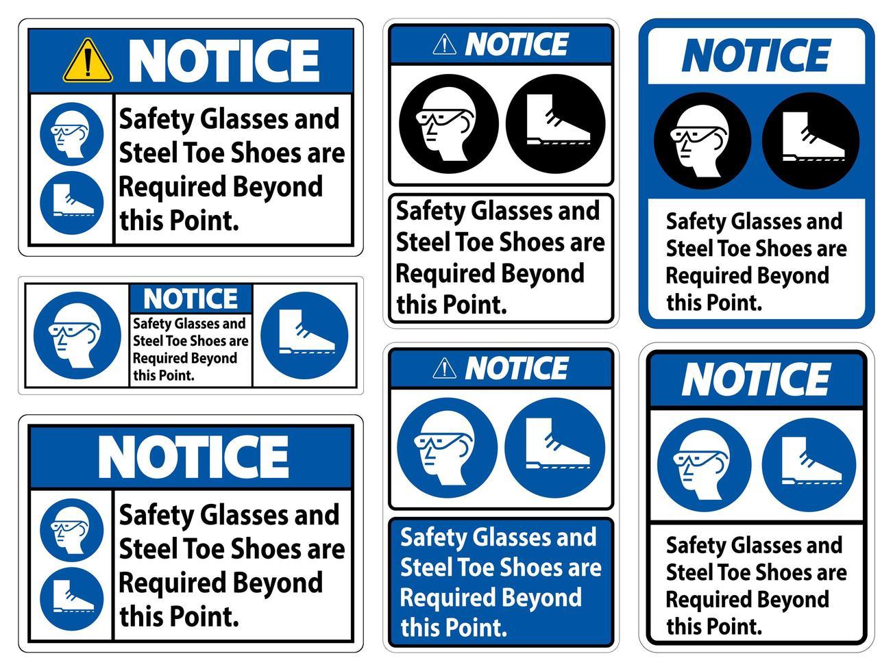 veiligheidsbril en stalen neus schoenen ondertekenen set vector