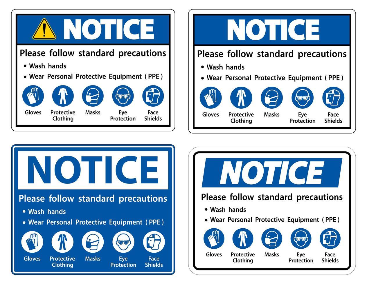 Volg de standaardset met voorzorgsmaatregelen vector