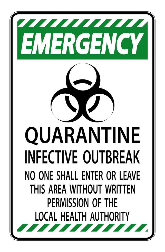 groen, zwart '' nood quarantaine infectieuze uitbraak '' teken vector