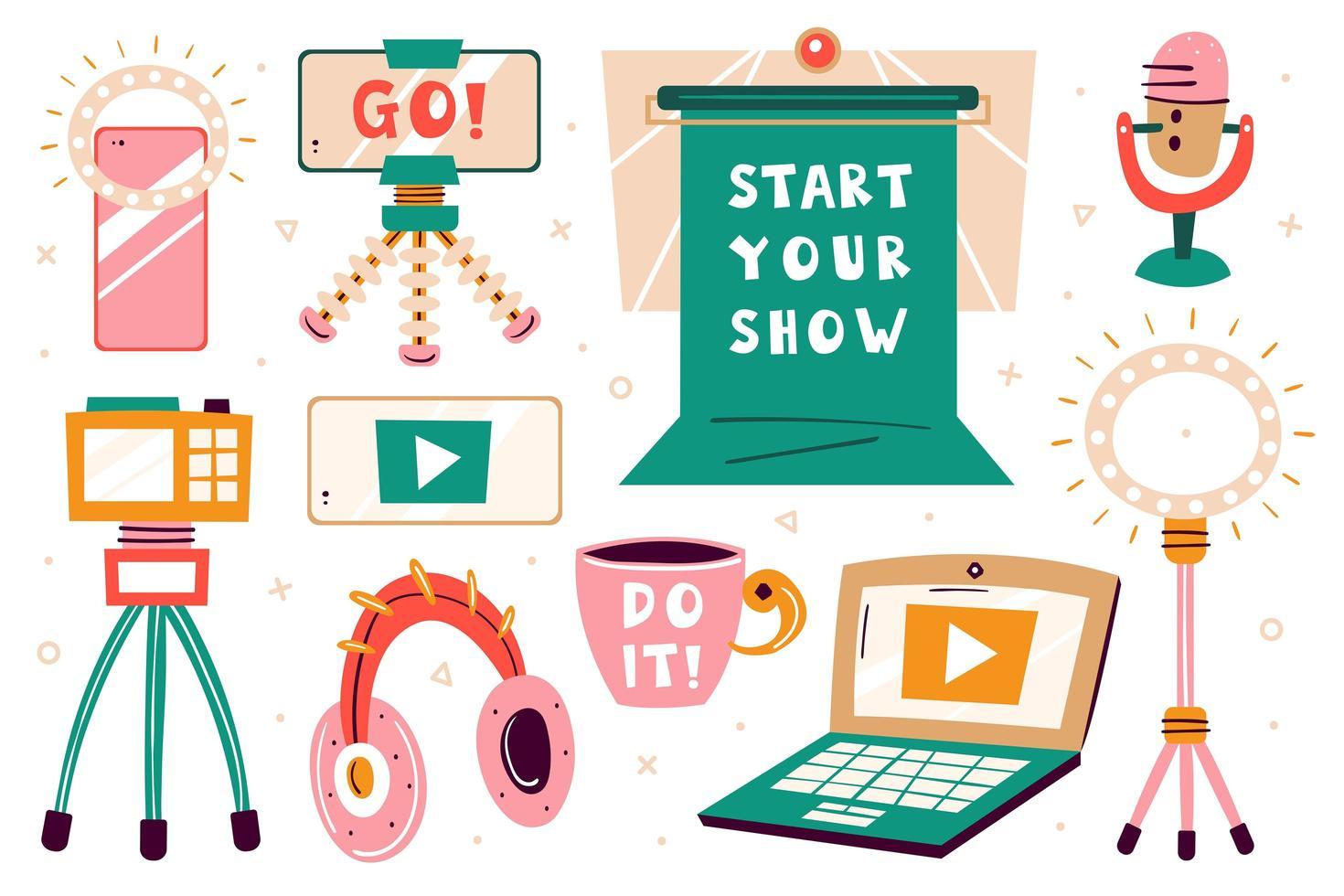 '' start uw show '' beeldset vector