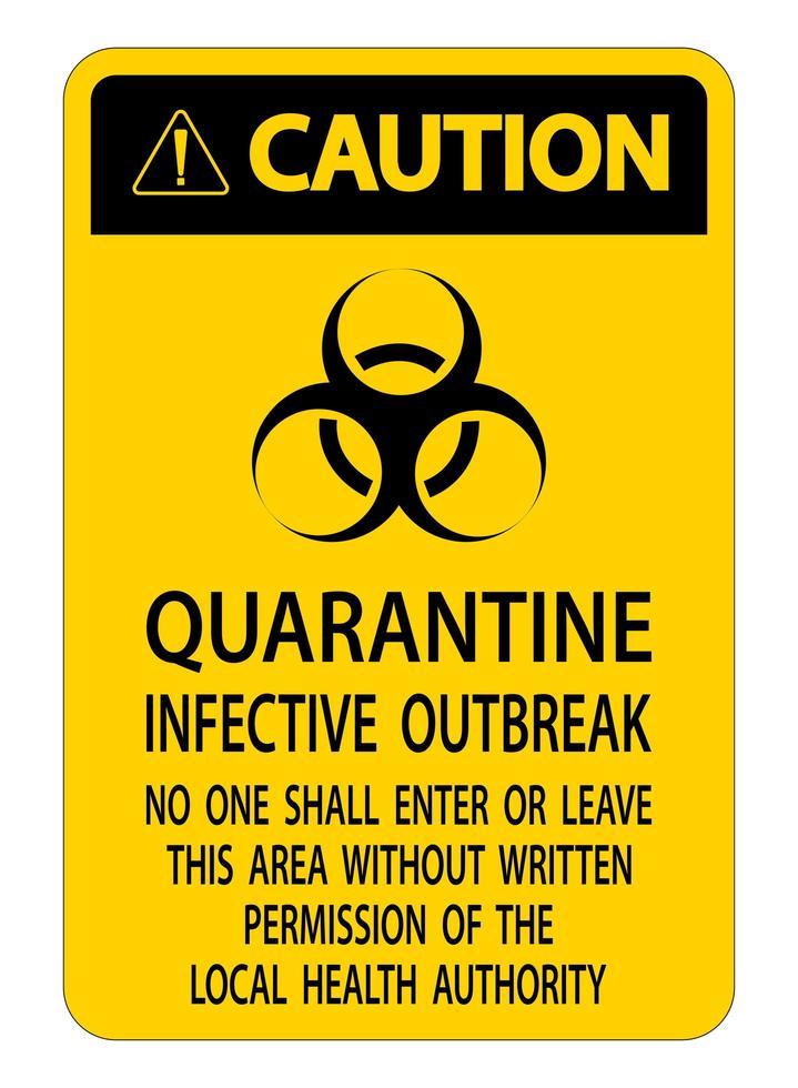 geel, zwart '' voorzichtigheid '' quarantaine infectieuze uitbraak teken vector