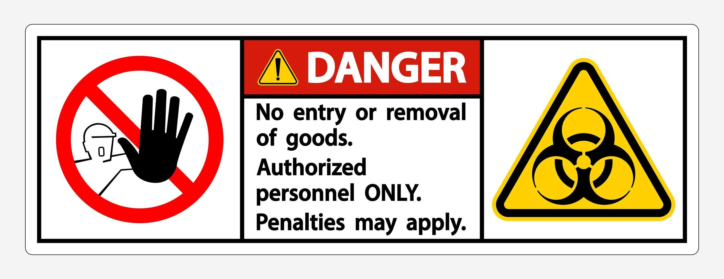 '' gevaar '' quarantaine '' alleen geautoriseerd personeel '' bord vector