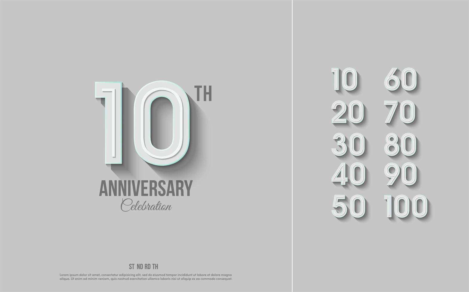 achtergrond viering cijfers van 10-100 met retro 3d vector