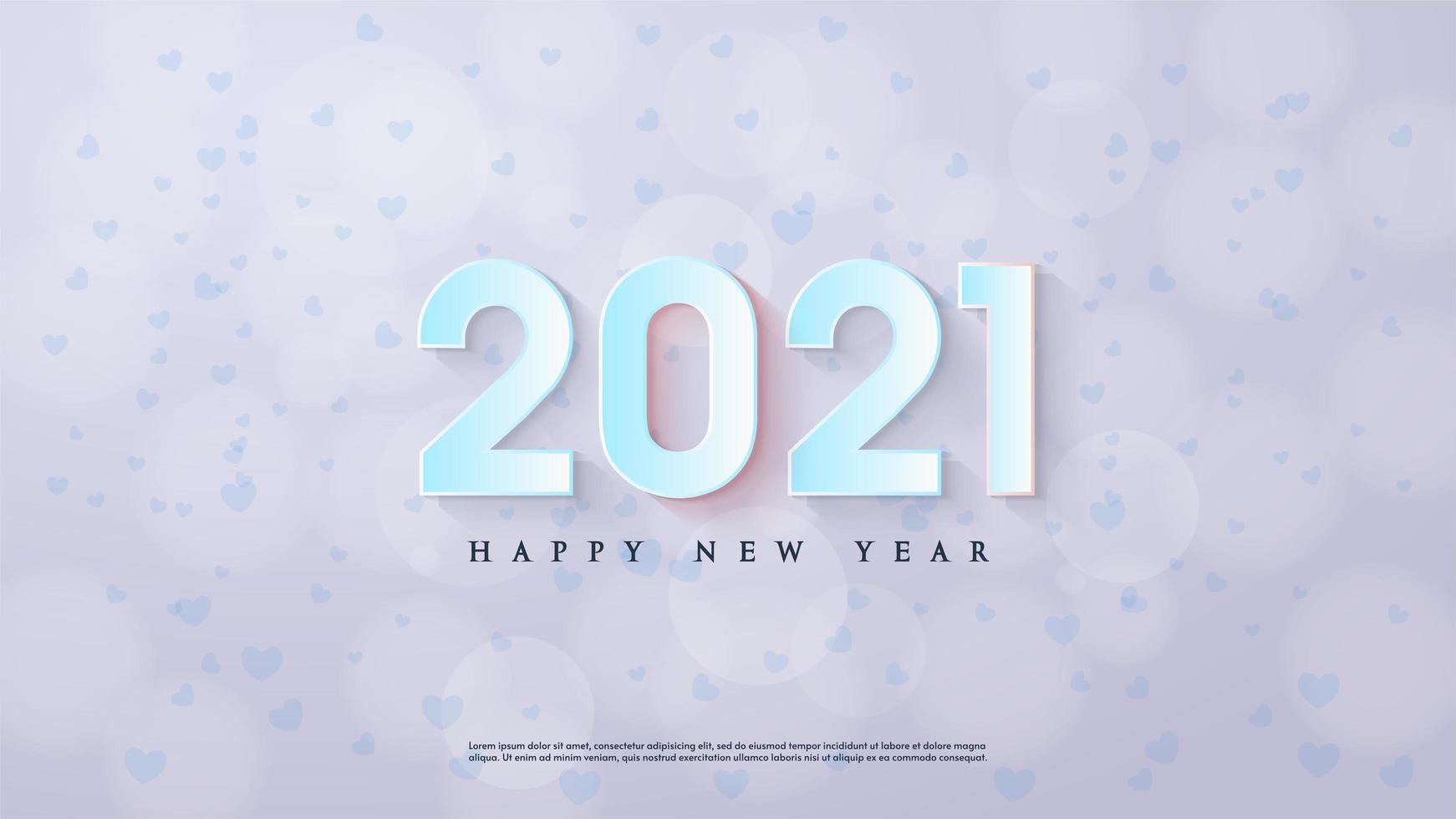 Gelukkig Nieuwjaar achtergrond 2021 met 3D-blauwe cijfers vector