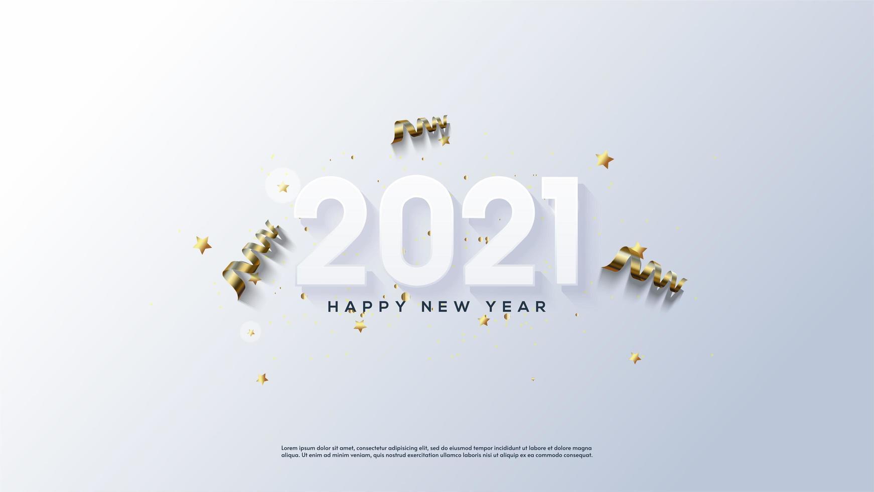 Gelukkig Nieuwjaar achtergrond 2021 met 3D-nummers vector