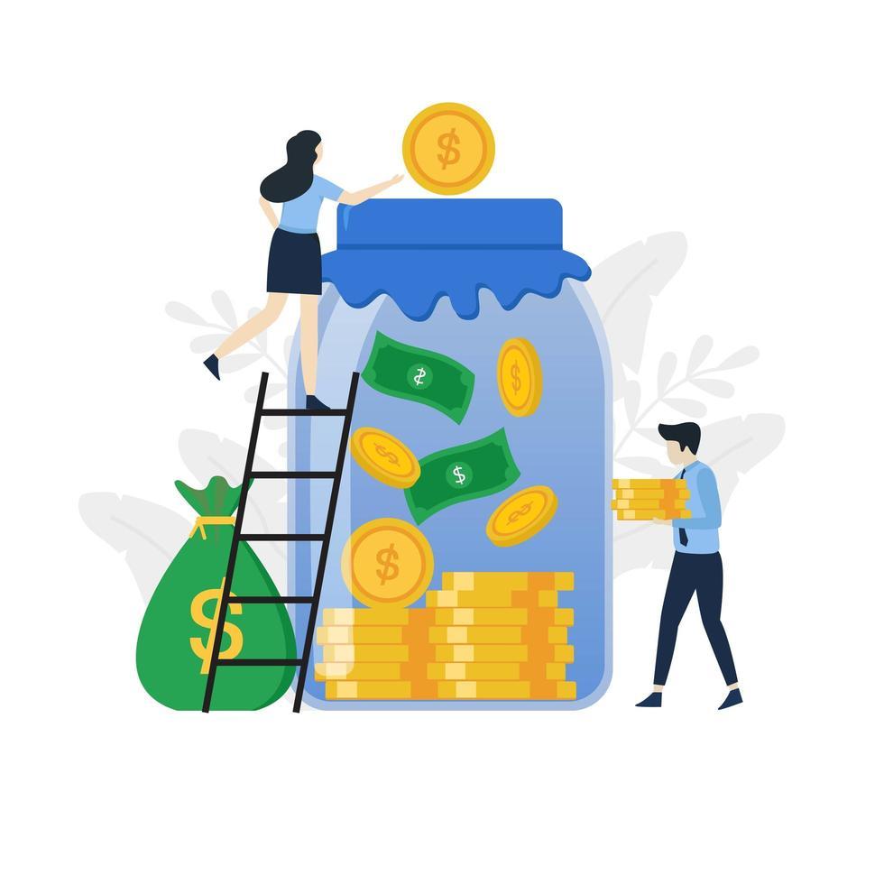 moderne flat geld besparen illustratie concept vector