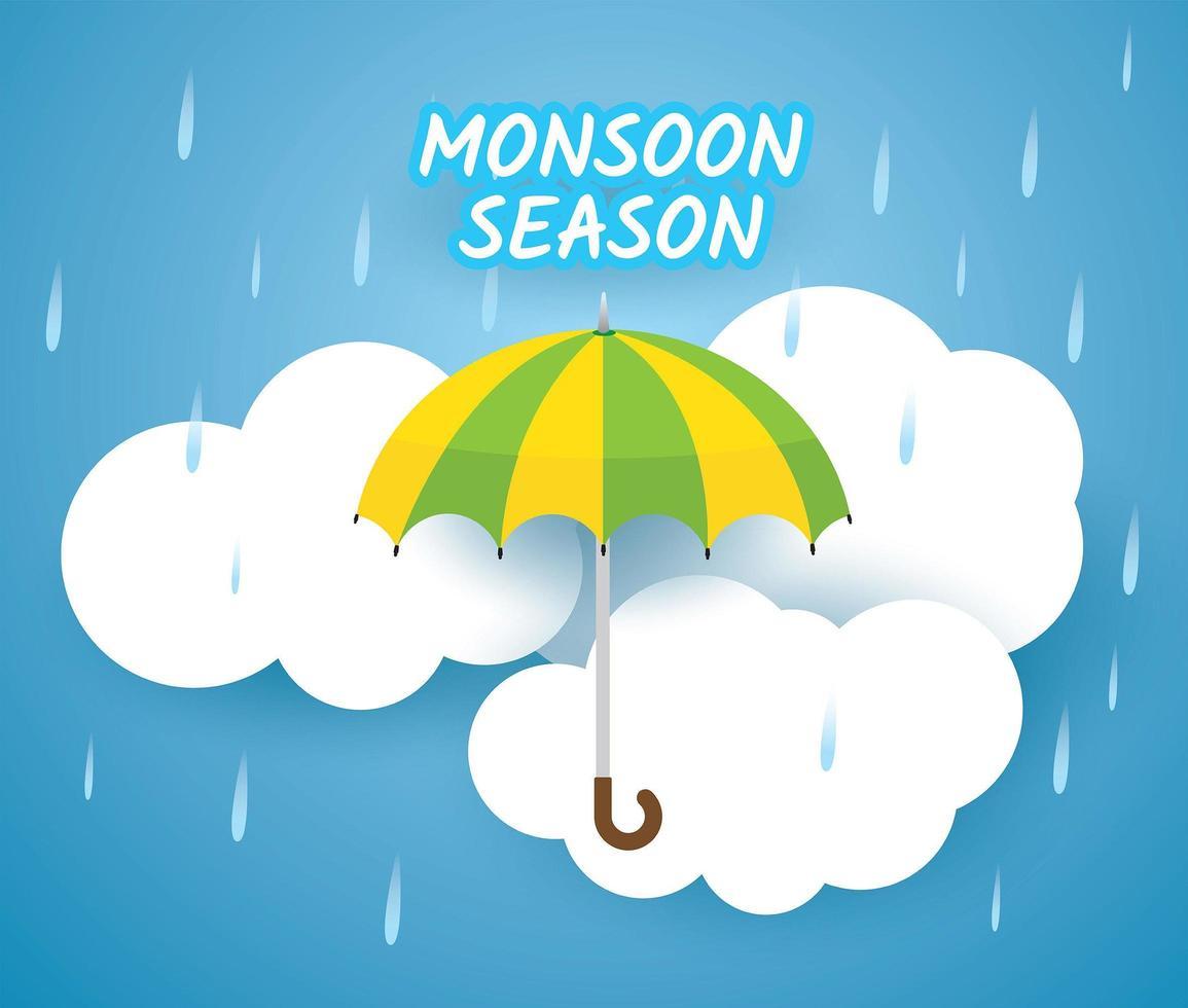 moesson seizoen ontwerp met paraplu over wolken vector