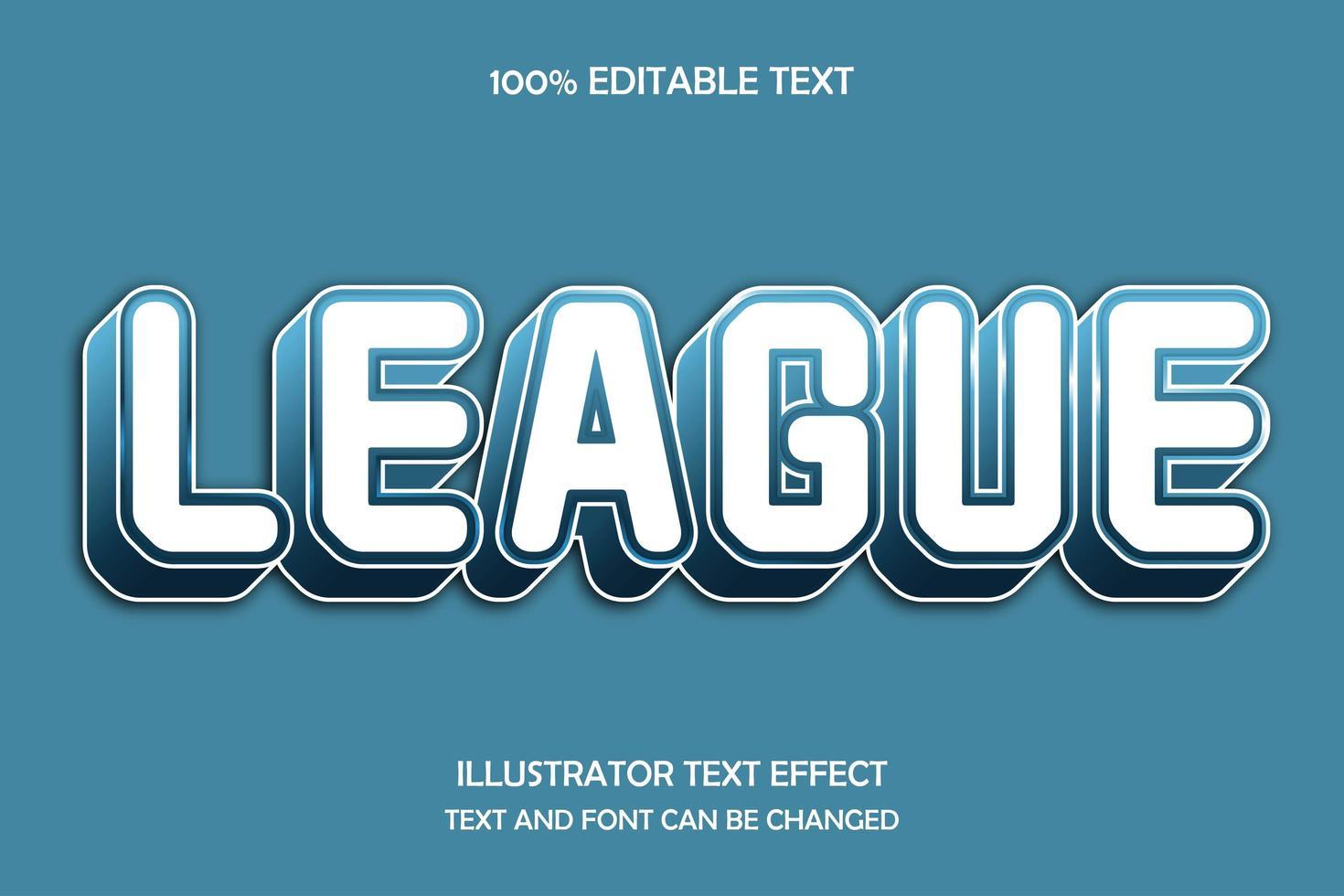 league 3d bewerkbaar teksteffect vector