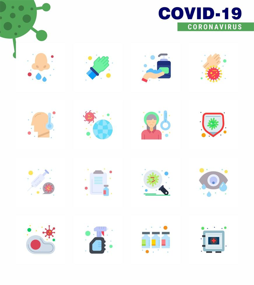 kleurrijk coronavirus icon pack inclusief medicatie vector