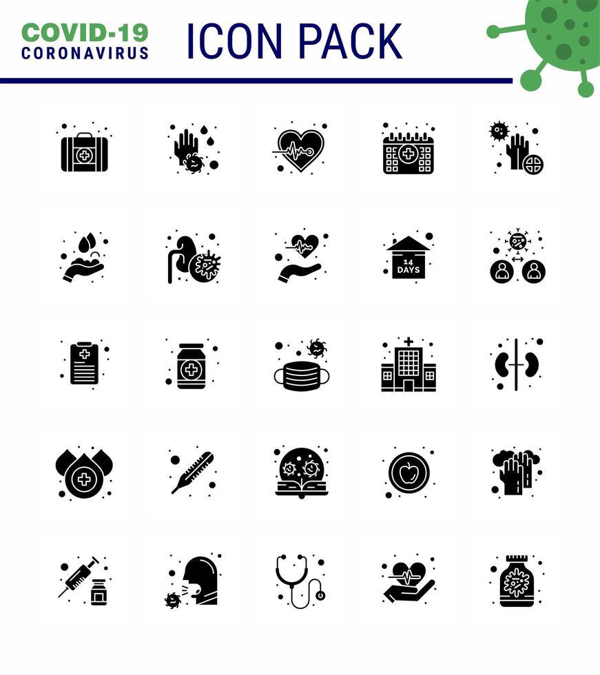 effen zwart coronavirus icon pack inclusief kalender vector