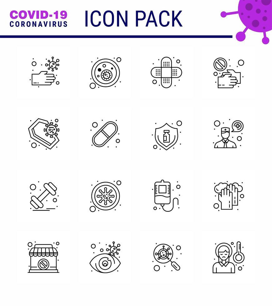 lijnstijl coronavirus icon pack inclusief kist vector