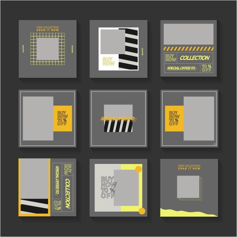 grijze, gele en zwarte social media postset vector