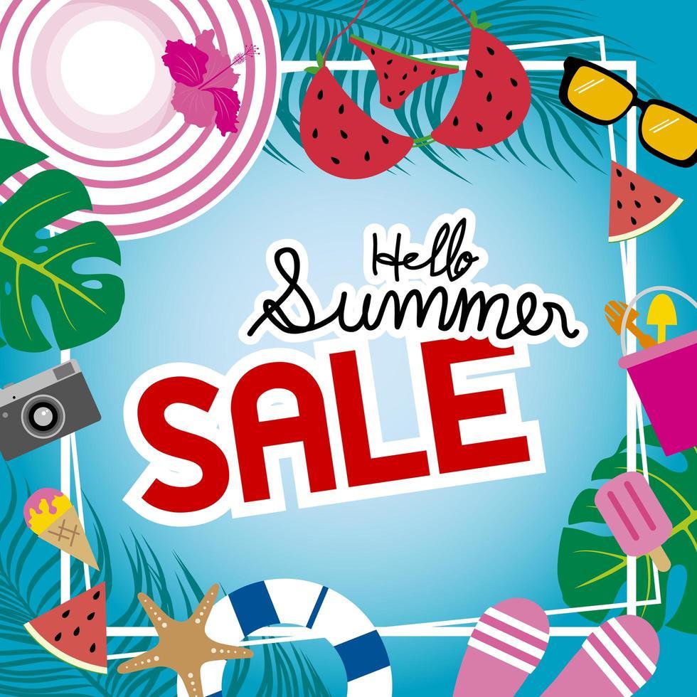 zomer verkoop banner met elementen rond frame vector