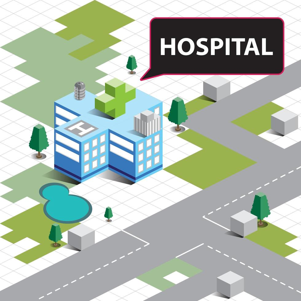 isometrische ziekenhuisgebouw vector