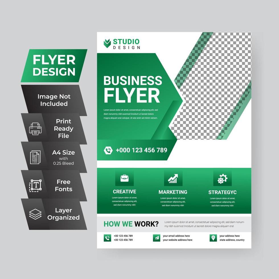 zakelijke groene en witte poster sjabloon vector