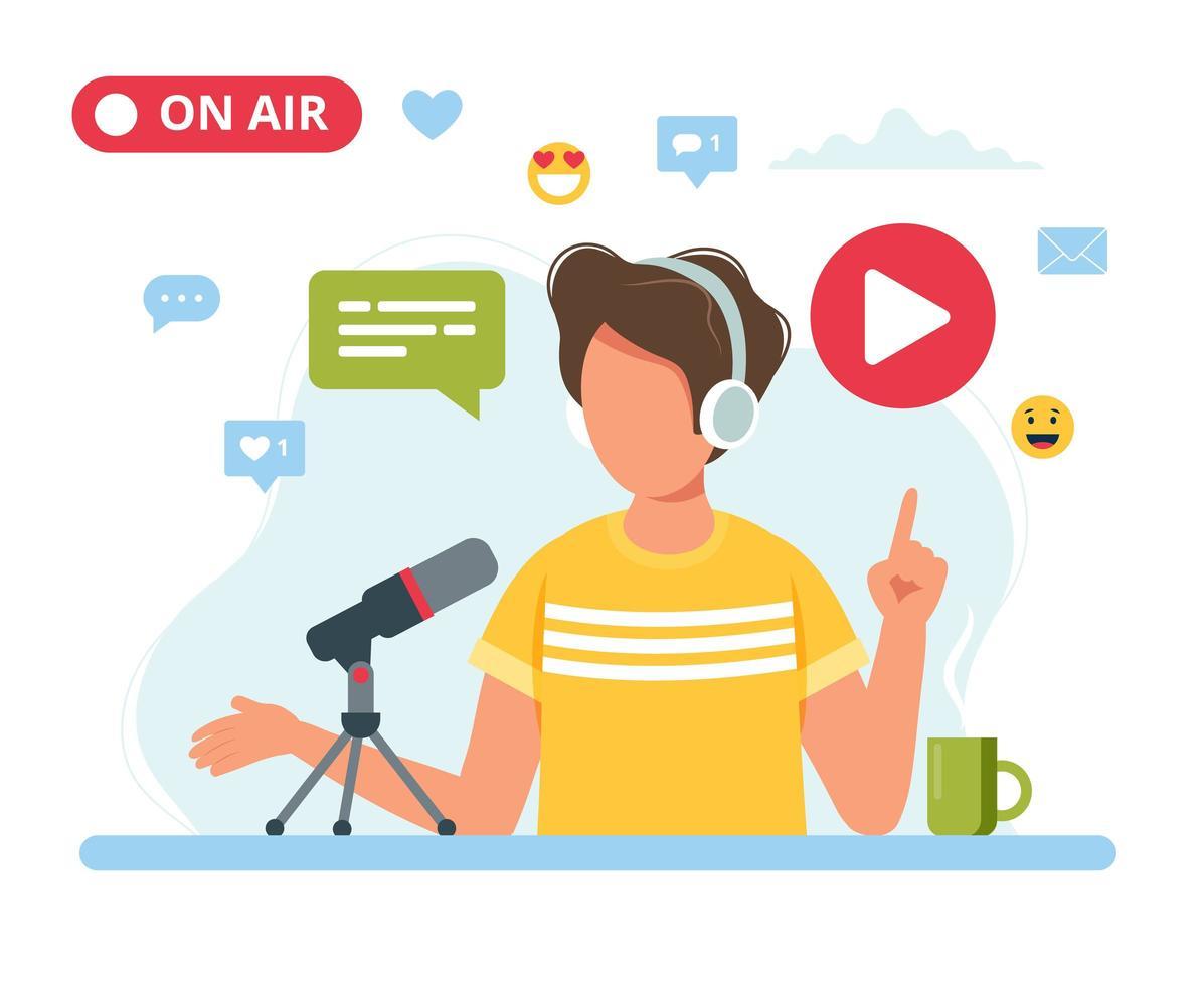 mannelijke podcaster in gesprek met microfoon vector