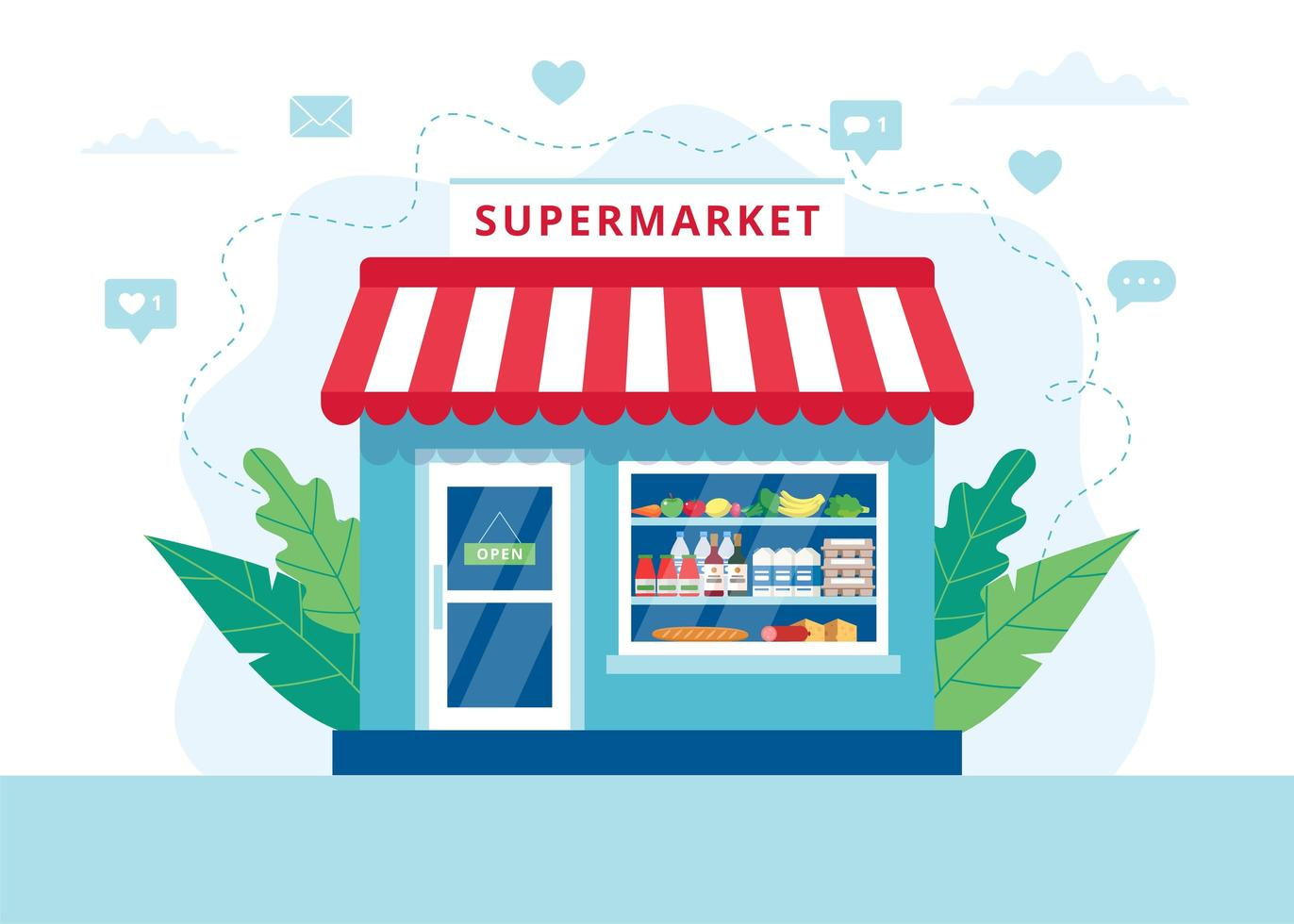 supermarkt concept vector