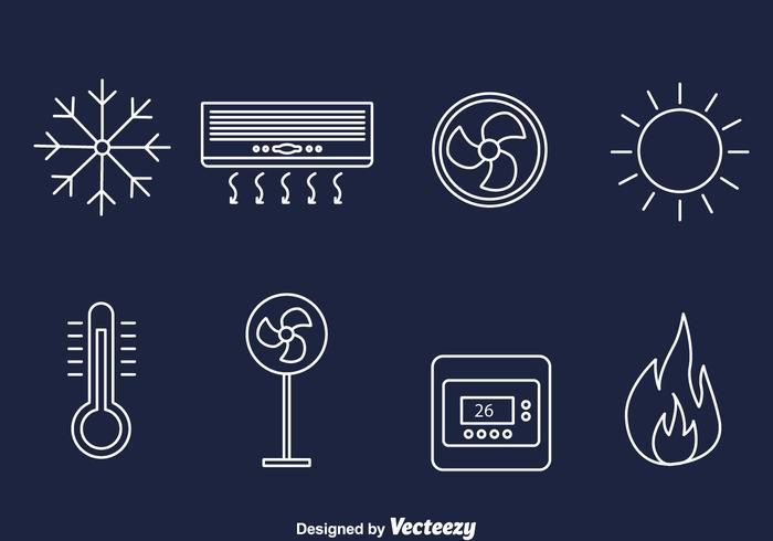 Hvac lijn iconen vector
