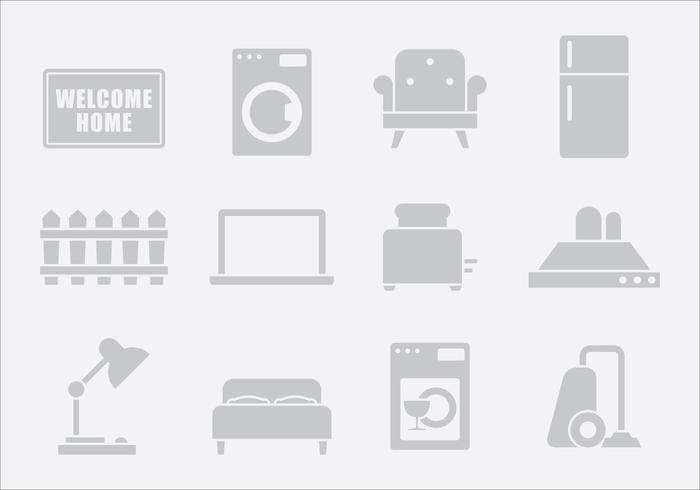 Grey Home Items Two vector