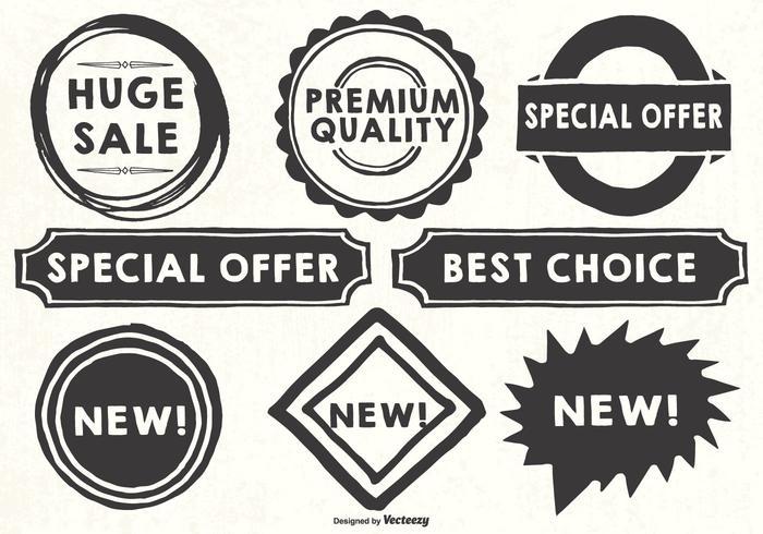 Handgetekende stijl promotie labels vector