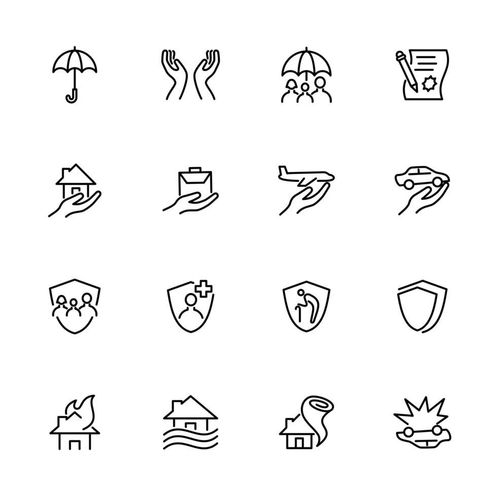 lijn icon set van bescherming bedrijf vector