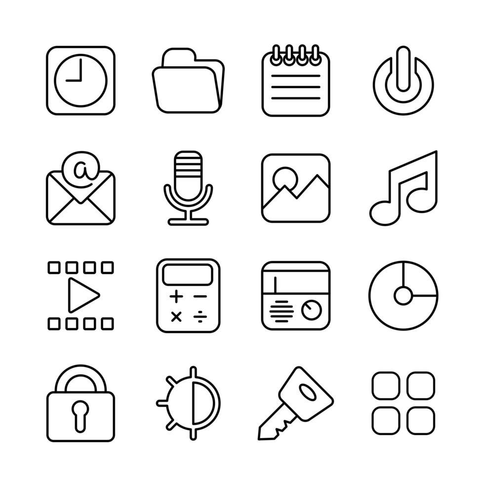 ouline pictogrammen voor slimme telefooninterface of themaontwerp vector