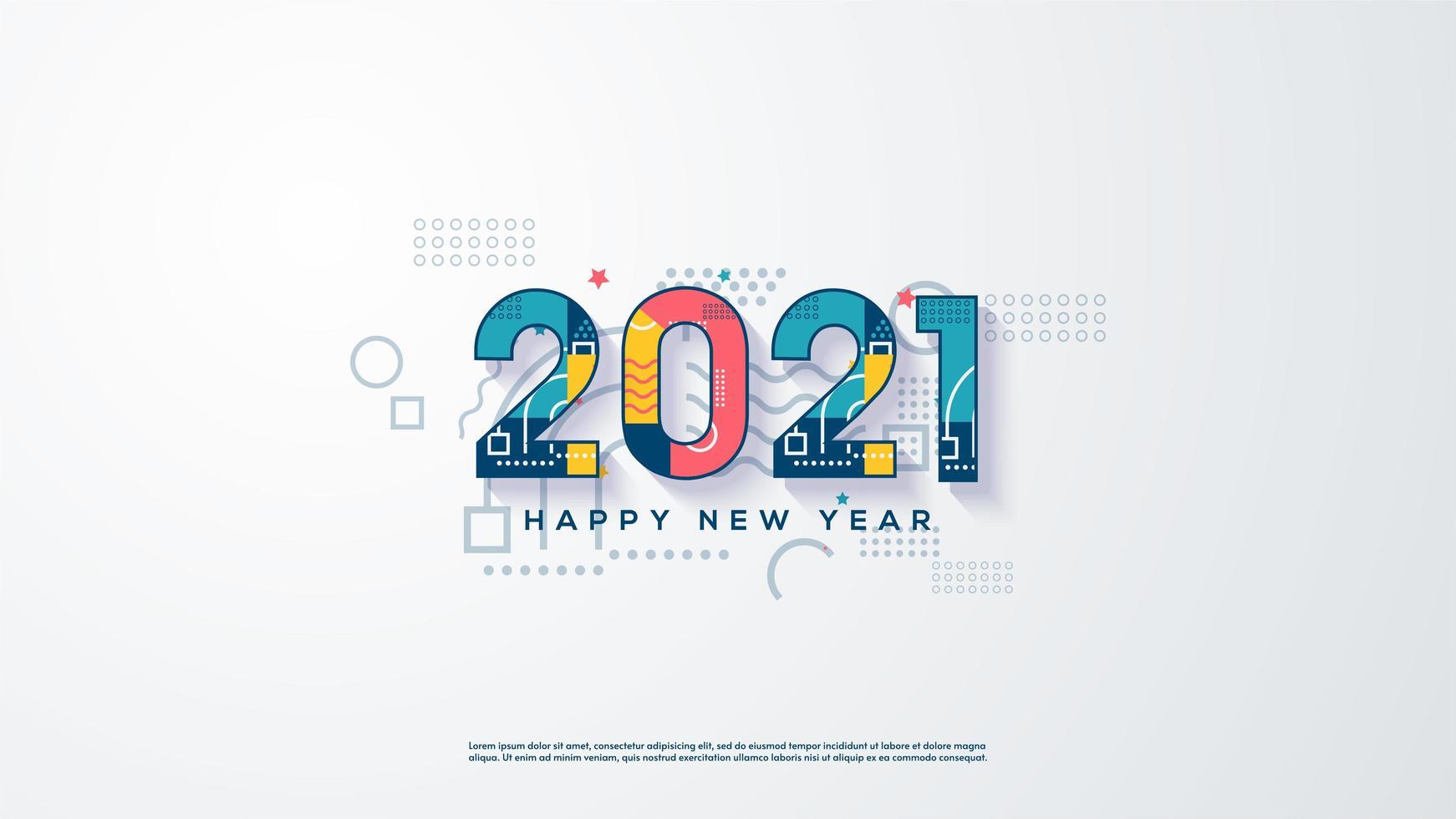 achtergrond 2021 met kleurrijke nummers vector