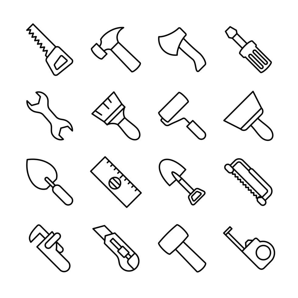 lijn icon set van timmerwerk tools vector