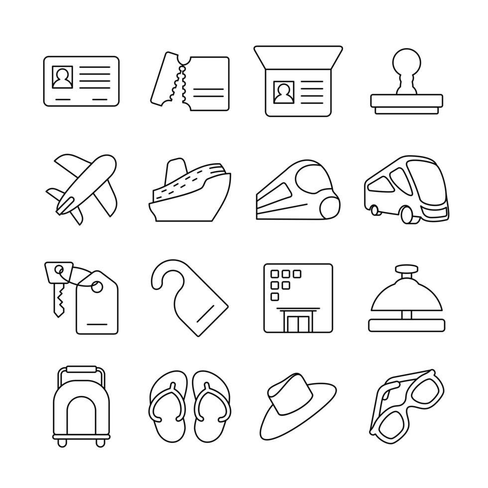 lijn icon set van chronologische cross nation reizen vector