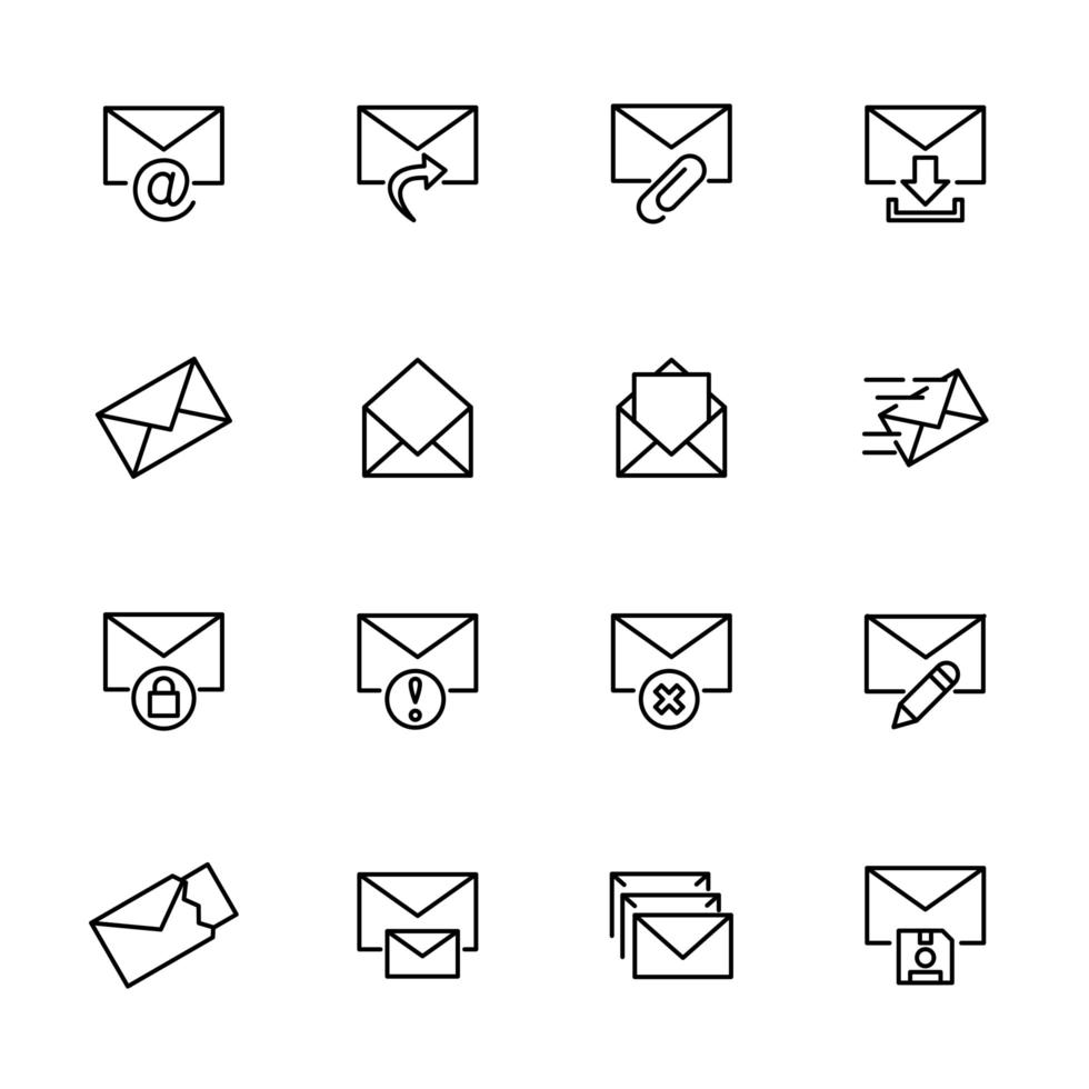 lijn icon set van enveloppen vector