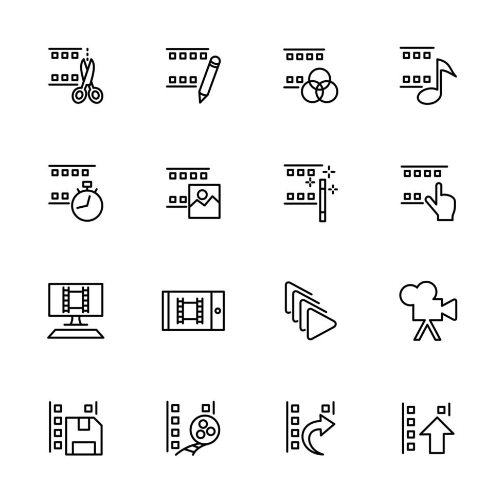 lijn icon set gerelateerd aan videobewerking vector