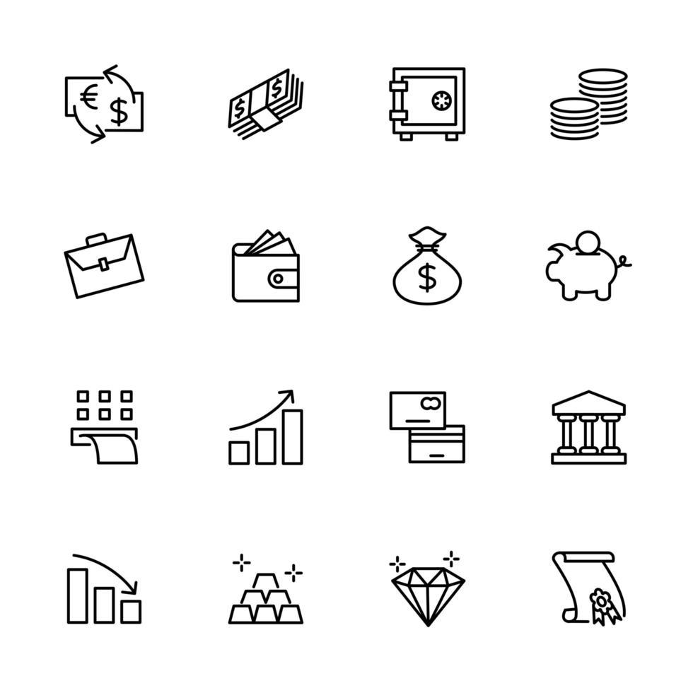 lijn icon set voor investeringen, economie, bankwezen, financiën vector