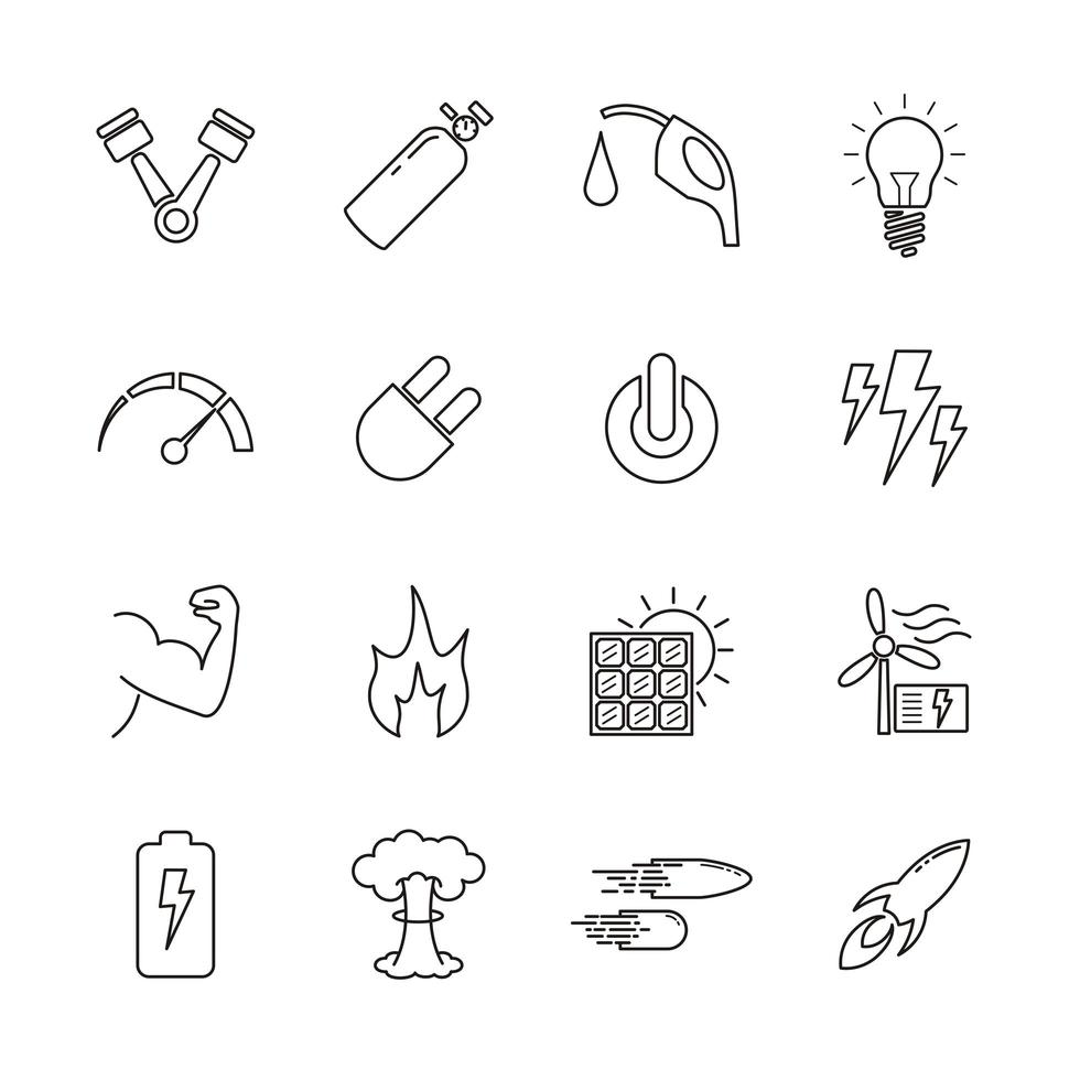 lijn iconen voor energie relatief vector