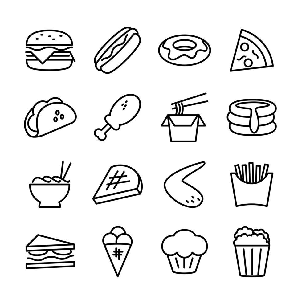 lijn icon set van fast food vector