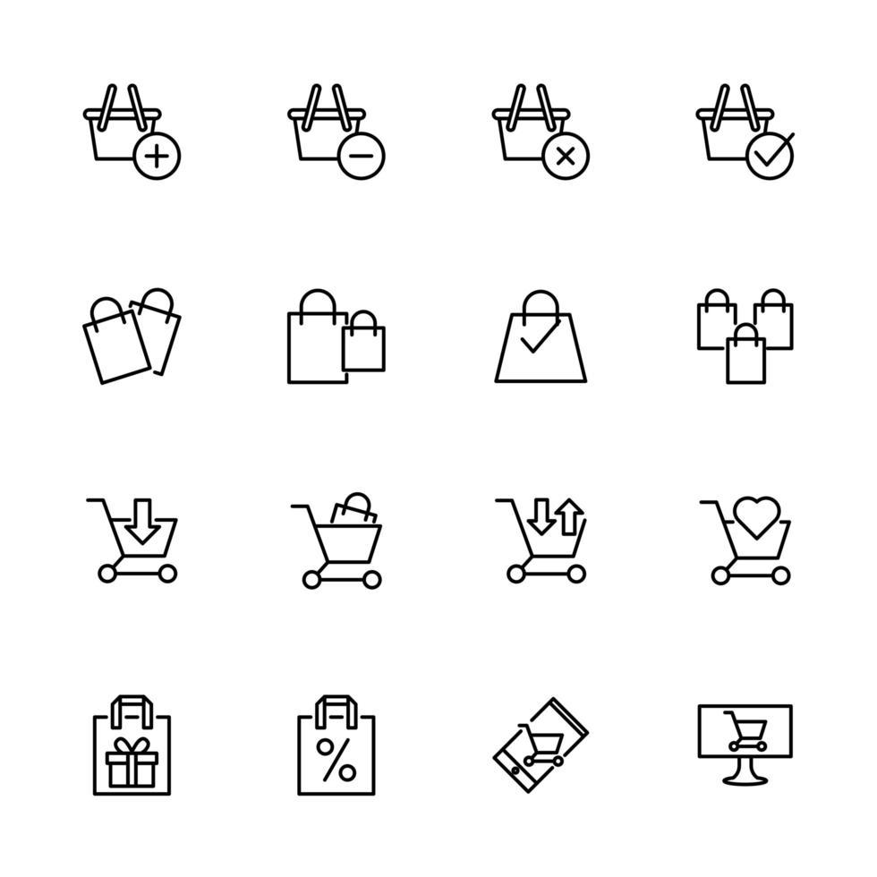 lijnpictogram gerelateerd aan e-commerce trolley en boodschappentas vector