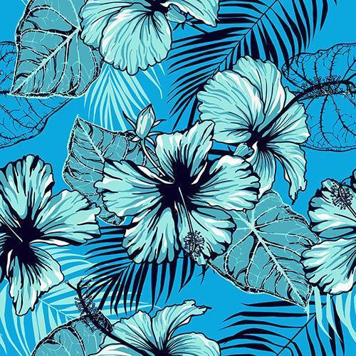 naadloos patroon van blauwe hibiscus vector