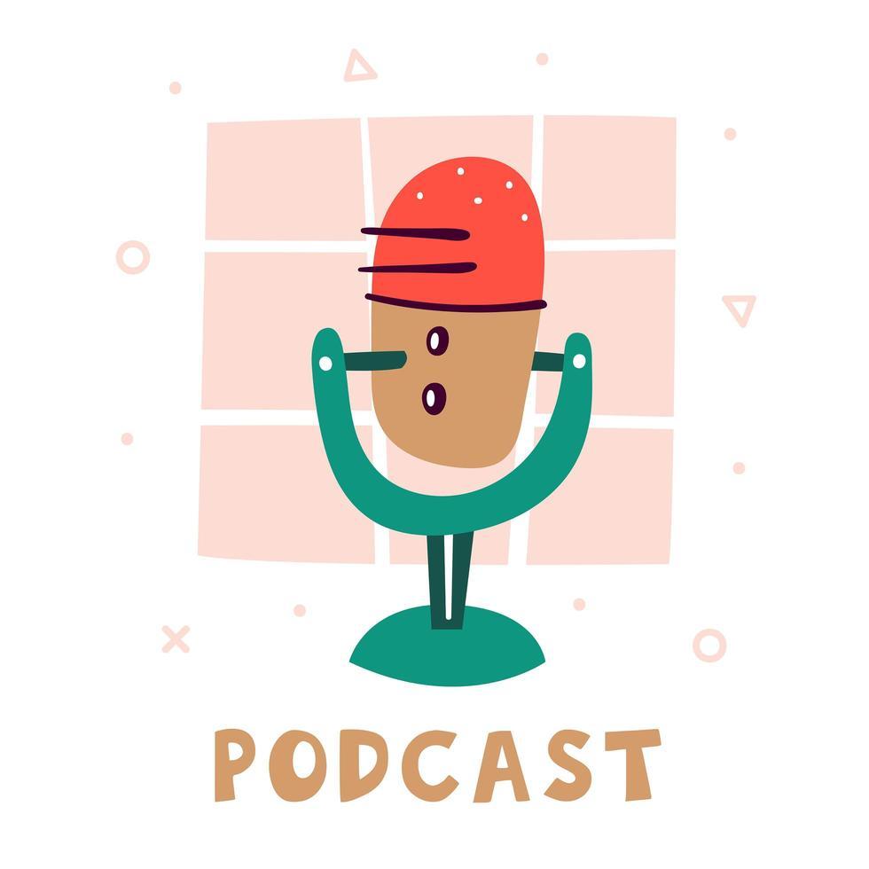 podcast. kleine schattige rode microfoon met een groene standaard vector