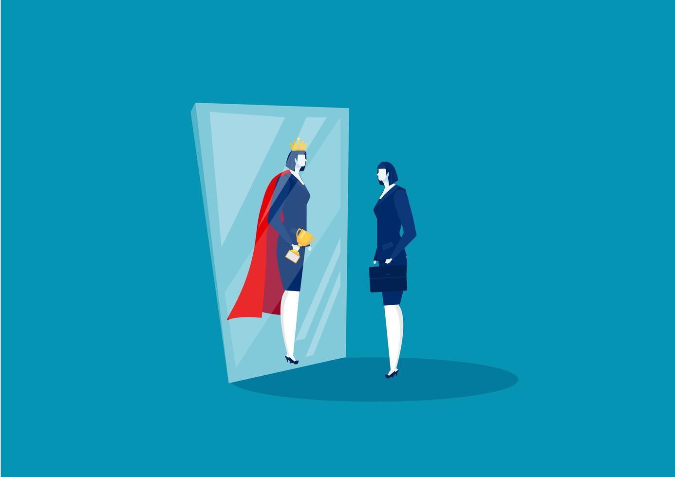 zakenvrouw kijkt in spiegel en ziet super koningin vector