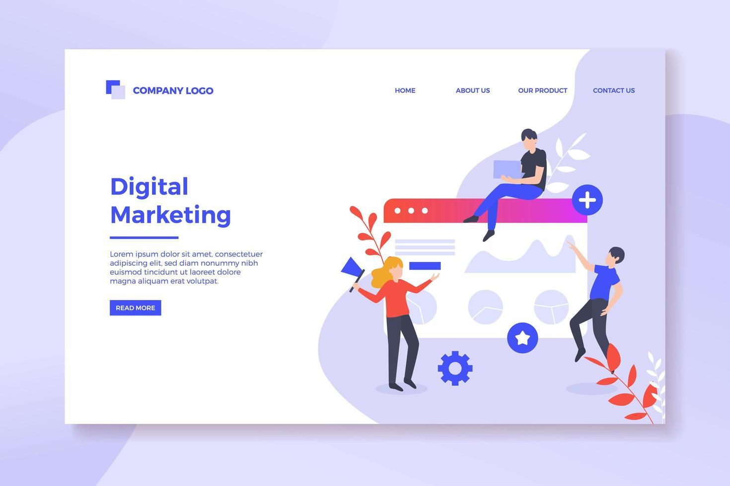 bestemmingspagina voor digitale marketing vector
