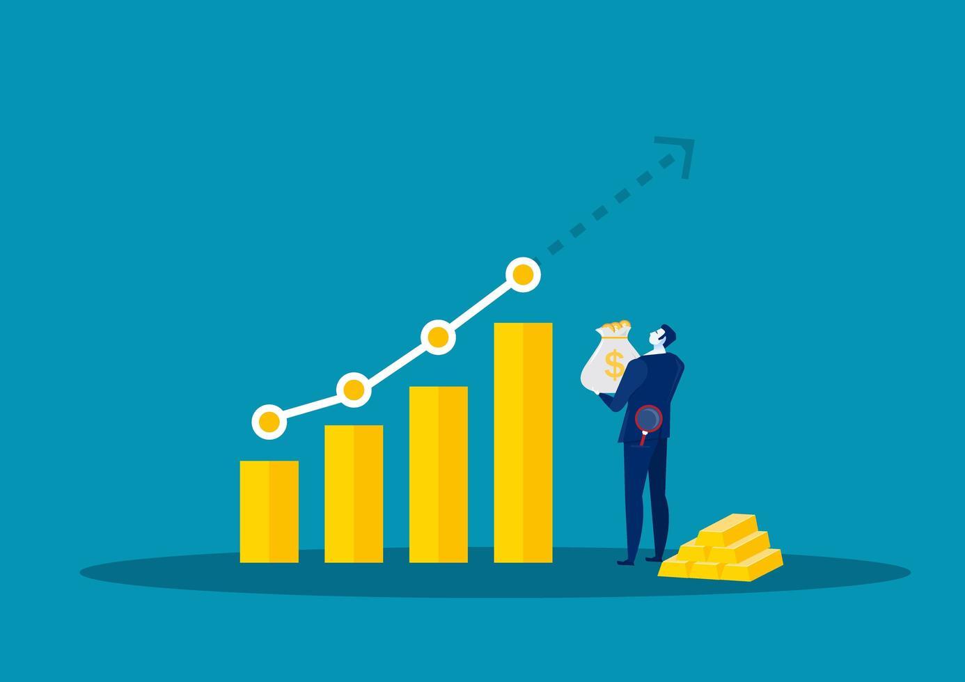 zakenman analyseren groeiende grafiek vector