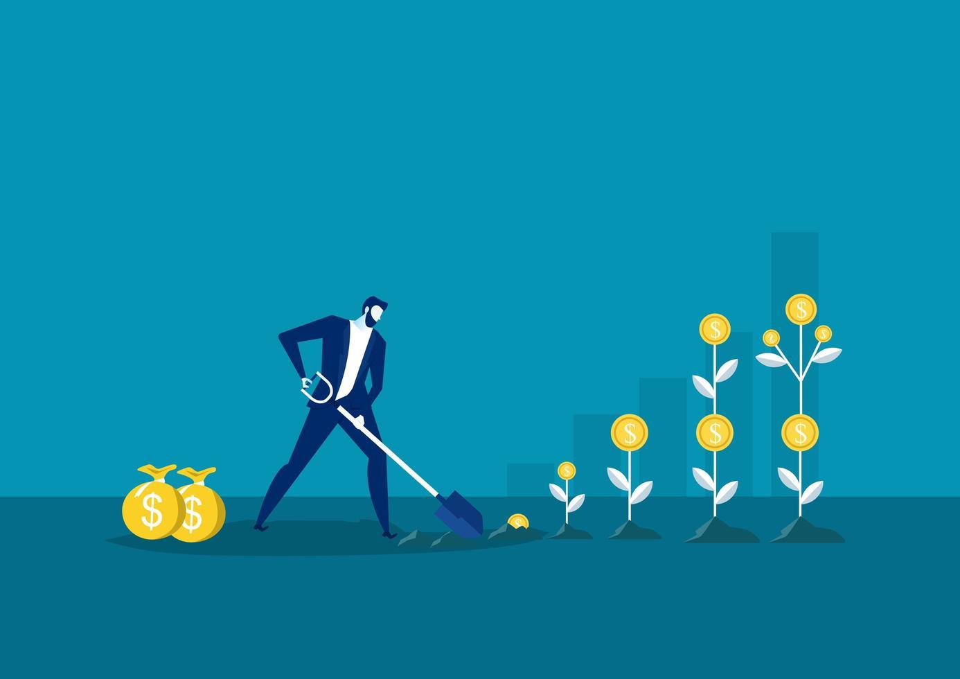 zakenman aanplant van een geldboom vector